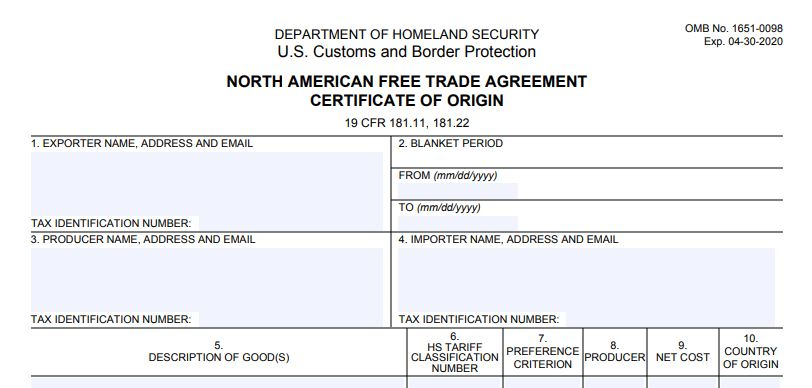 North American Free Trade Agreement Certificate Of Origin Gallery